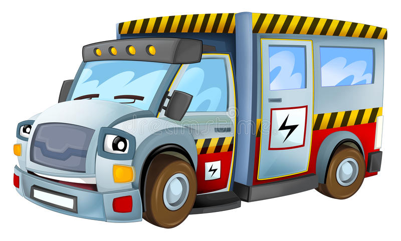 Cartoon vehicle electricity car isolated. Beautiful and colorful illustration for the children - for different usage - for fairy tales stock illustration