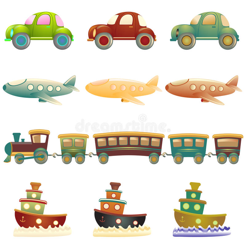 Cartoon vehicles stock illustration