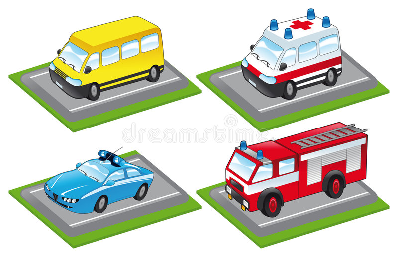 Cartoon vehicles royalty free illustration