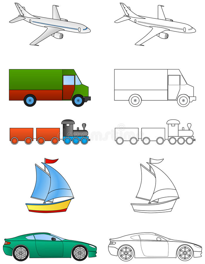 Download Cartoon Vehicles Coloring (1/2) Stock Illustration - Illustration of boat, vehicles: 36321803