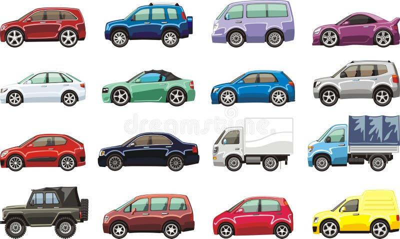 Cartoon vehicles. Cartoon passenger car lorry and van for illustration stock illustration