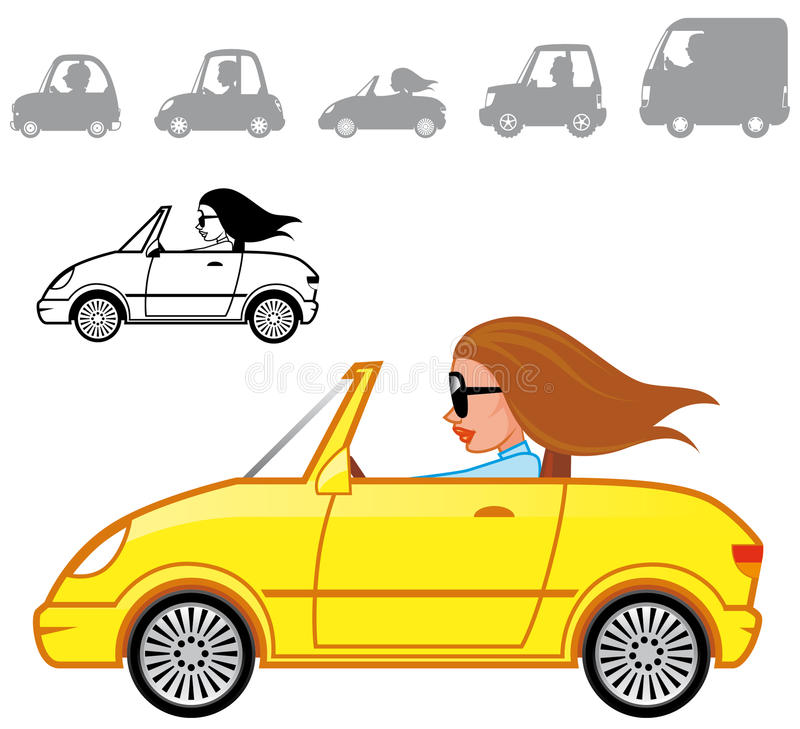 Cartoon vehicles series. Color and B&W stock illustration