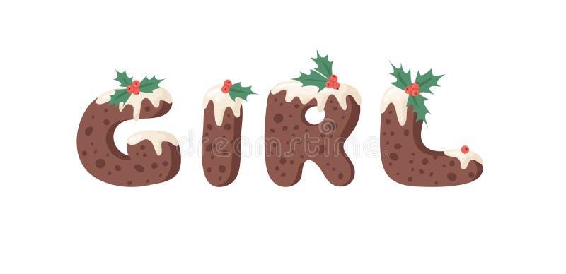 Cartoon Vektor Illustration Weihnachts Pudding Handschrift Actual Creative Holidays Bake Alphabet und Wort GIRL stock abbildung