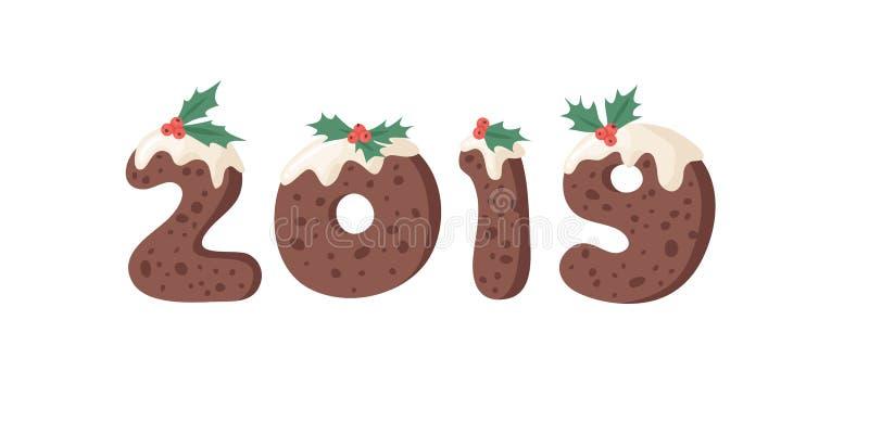 Cartoon Vektor Illustration Weihnachts Pudding Handschrift Tatsächliches Creative Holidays Bake-Alphabet und Zahlen 2019 stock abbildung