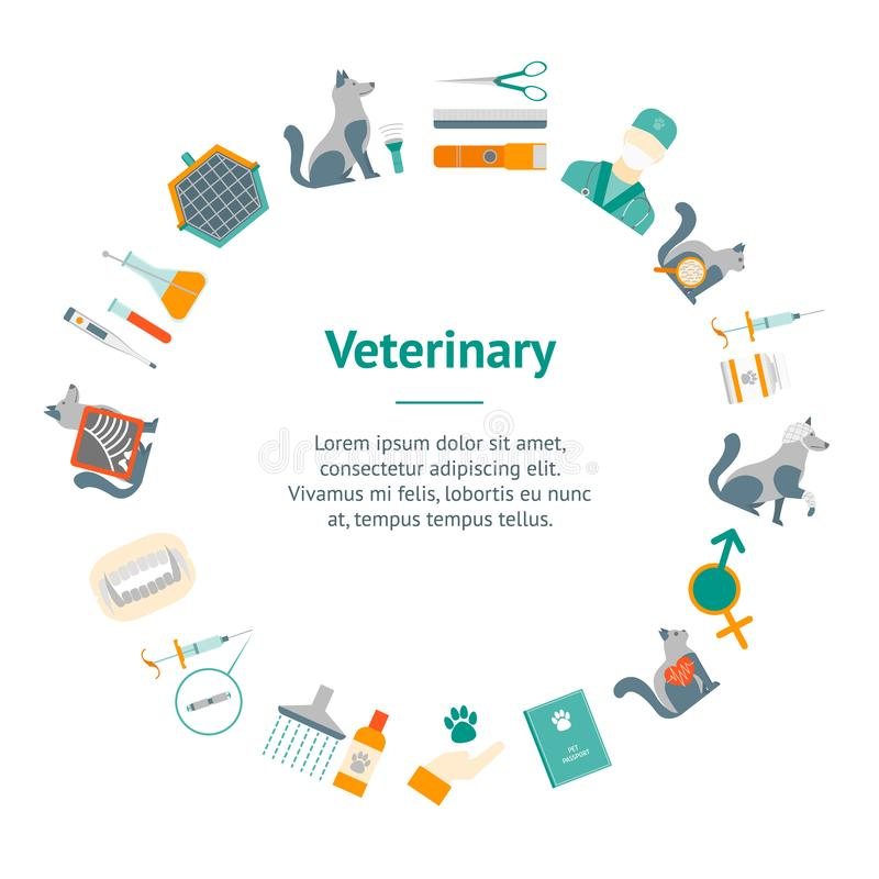 Cartoon Veterinary and Grooming Banner Card Circle. Vector stock illustration