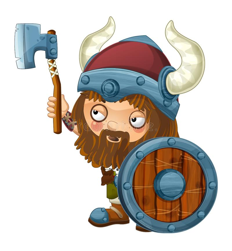 Cartoon viking warrior on white background. Beautiful and colorful illustration for the children - for different usage - for fairy tales stock illustration