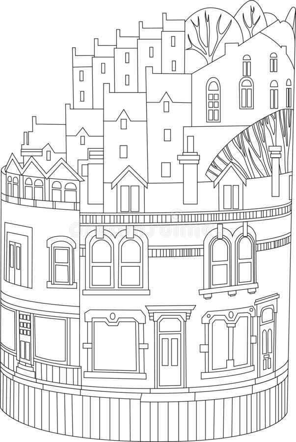 Free Cartoon Village In Cylinder Form With Decorated Facade Sketch Template. Graphic Vector Illustration Of House In Black And White Royalty Free Stock Photo - 214066855