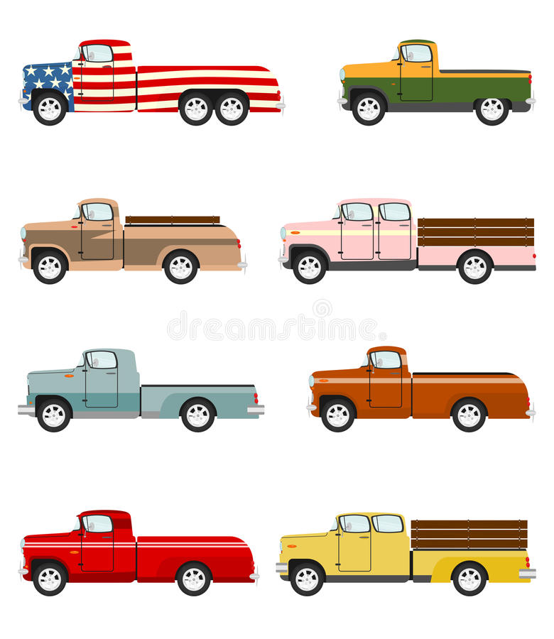 Cartoon vintage pick up truck stock illustration