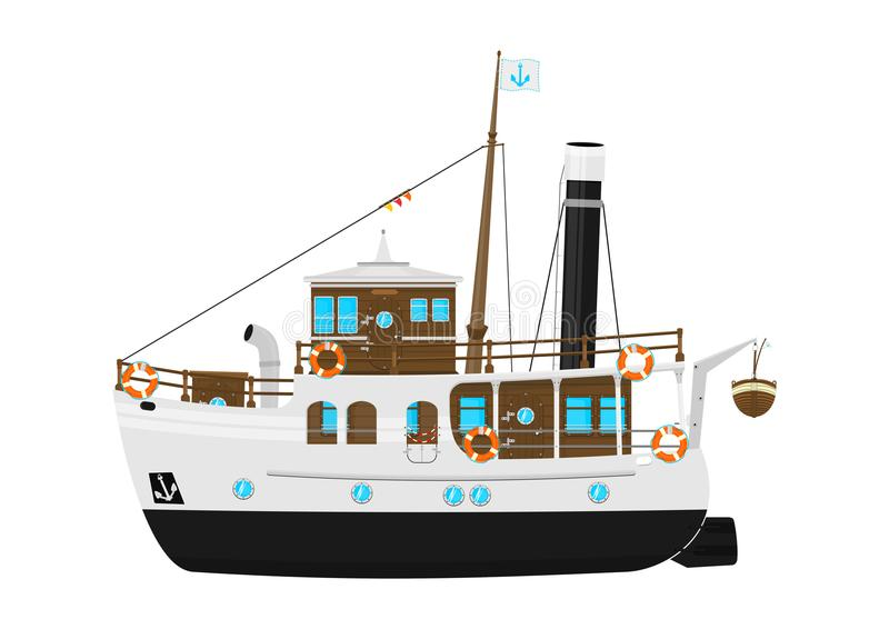Cartoon vintage steam ship. stock illustration