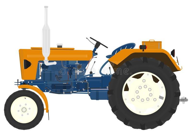 Cartoon vintage tractor stock illustration