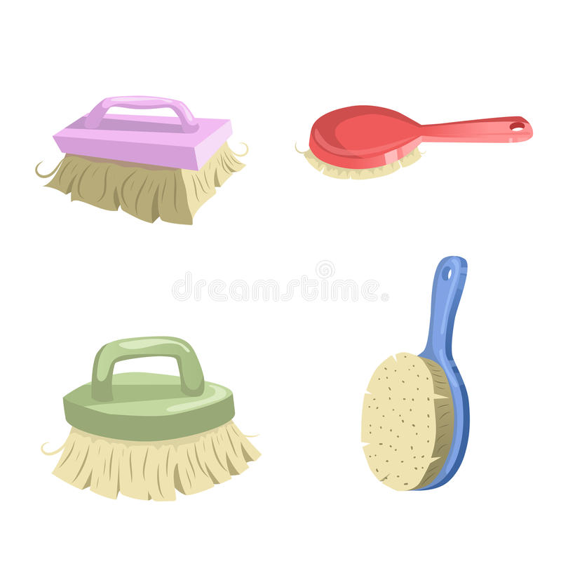 Free Cartoon Vintage Trendy Icon Set Of Cleaning Brushes. Housework Vector Simple Gradient Icons. Pink, Red, Green And Blue Shiny Brush Stock Image - 97744791
