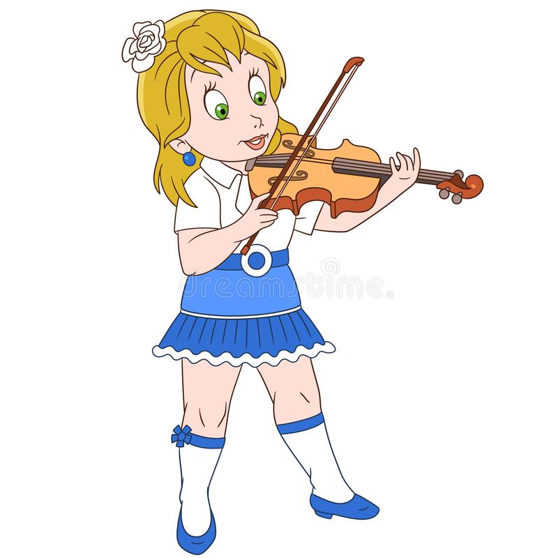 Cartoon violinist girl playing symphony music vector illustration