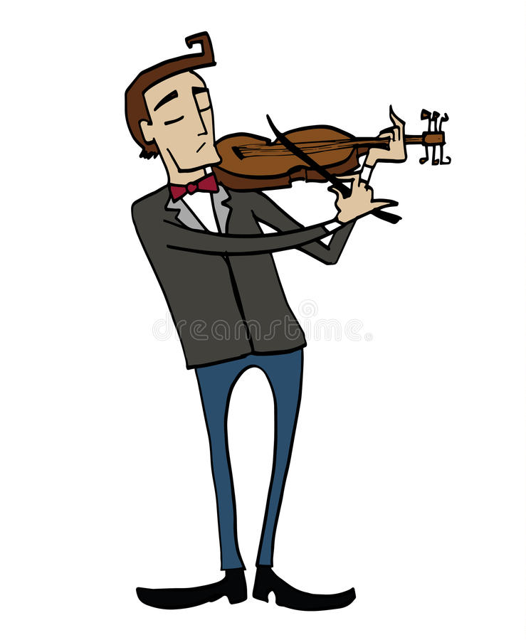 Cartoon violinist. Musician playing a violin. Clipart, hand-drawn simple illustration of a man playing a musical instrument royalty free illustration