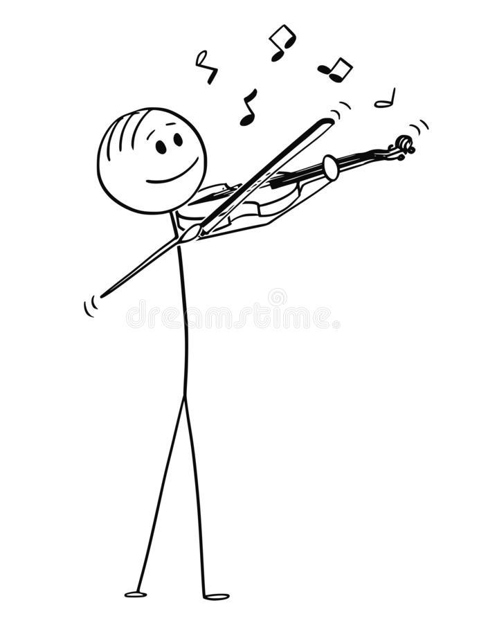 Cartoon of Violinist Playing Music on Violin. Cartoon stick figure drawing conceptual illustration of musician violinist playing music on violin. Musical notes vector illustration
