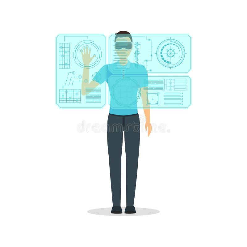 Cartoon Virtual Reality Man with Futuristic Technology Display Concept. Vector stock illustration