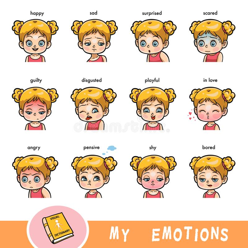 Cartoon visual dictionary for children. The human emotions. Color set of girl faces with different expressions royalty free illustration