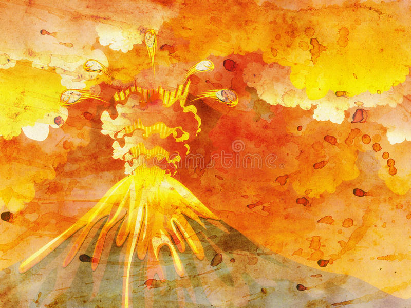 Cartoon Volcano Eruption Grunge vector illustration