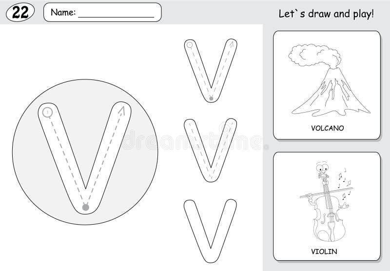 Cartoon Volcano And Violin Alphabet Tracing Worksheet Writing – Volcano Diagram Worksheet
