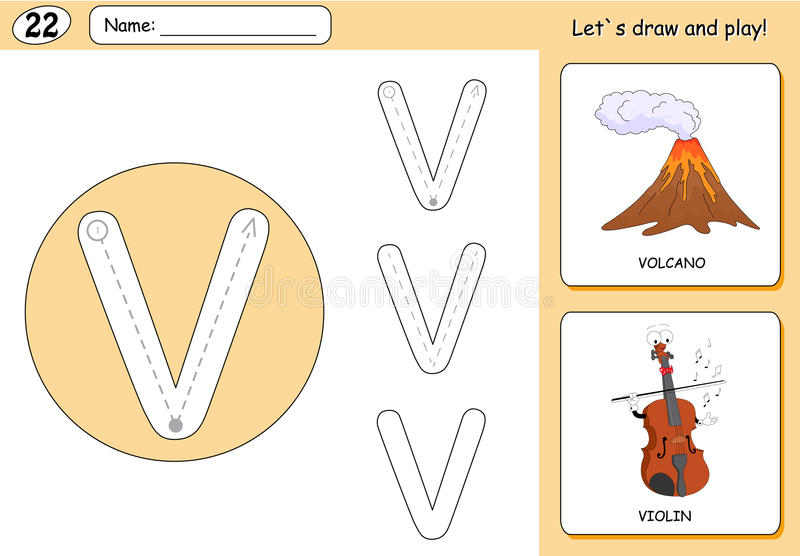 Cartoon volcano and violin. Alphabet tracing worksheet. Writing A-Z, coloring book and educational game for kids vector illustration