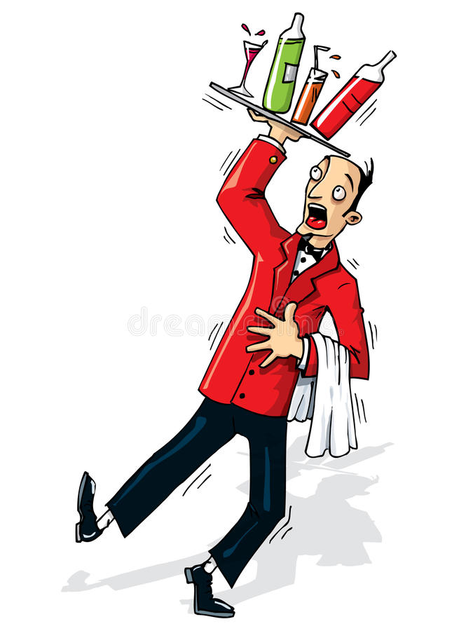 Download Cartoon Waiter About To Spill Stock Vector - Image: 20849856