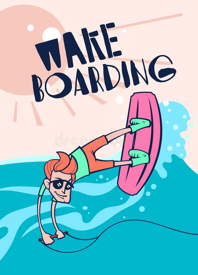 Cartoon wake boarding poster. Cartoon style wake boarding poster royalty free illustration