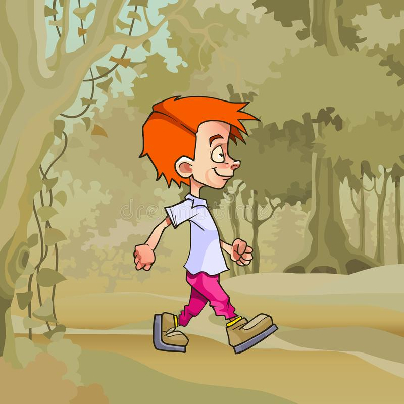 Cartoon walking in the forest red haired boy vector illustration