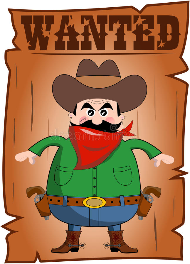 Cartoon Wanted Poster with Bad Cowboy. Cartoon wanted poster with full fat bad cowboy with red bandanna and two revolvers ready for a duel isolated on white vector illustration
