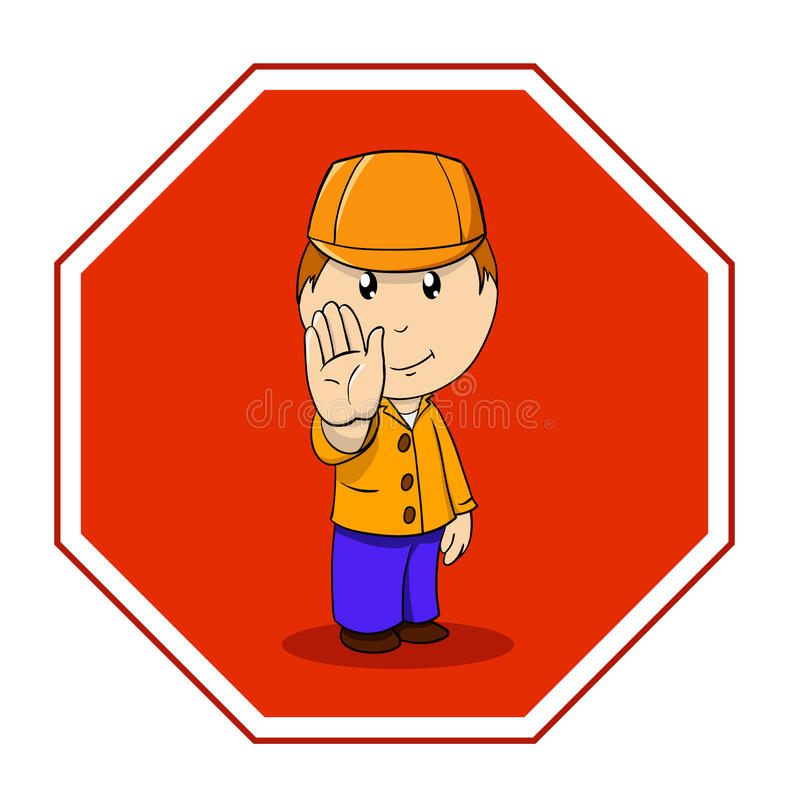 Download Cartoon Warning Sign Stop With Man In Orange Stock Vector - Image: 18205737