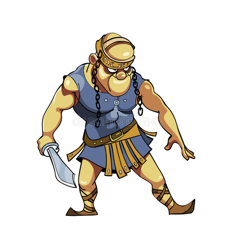 Cartoon warrior with a sword in Viking clothes stock illustration