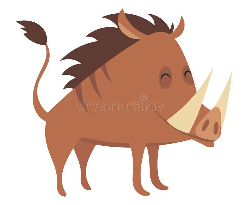 Cartoon warthog.Vector illustration. Drawing animal for children. Zoo for kids. stock illustration