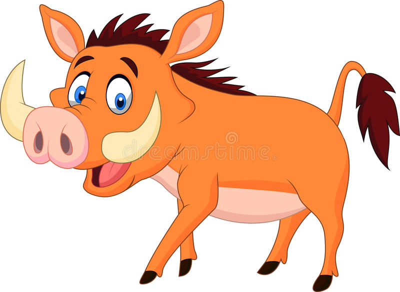 Cartoon warthog walking royalty free illustration