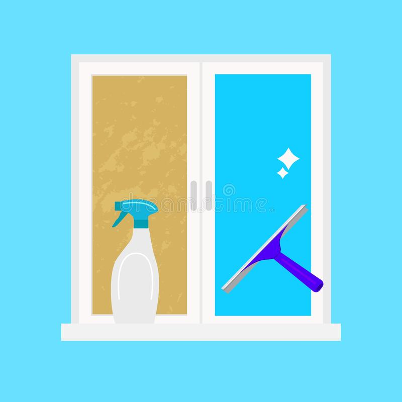 Cartoon Washing Dirty Windows Card Poster. Vector. Cartoon Washing Dirty Windows Card Poster Concept Flat Design Style for Home Work Services Ad. Vector royalty free illustration