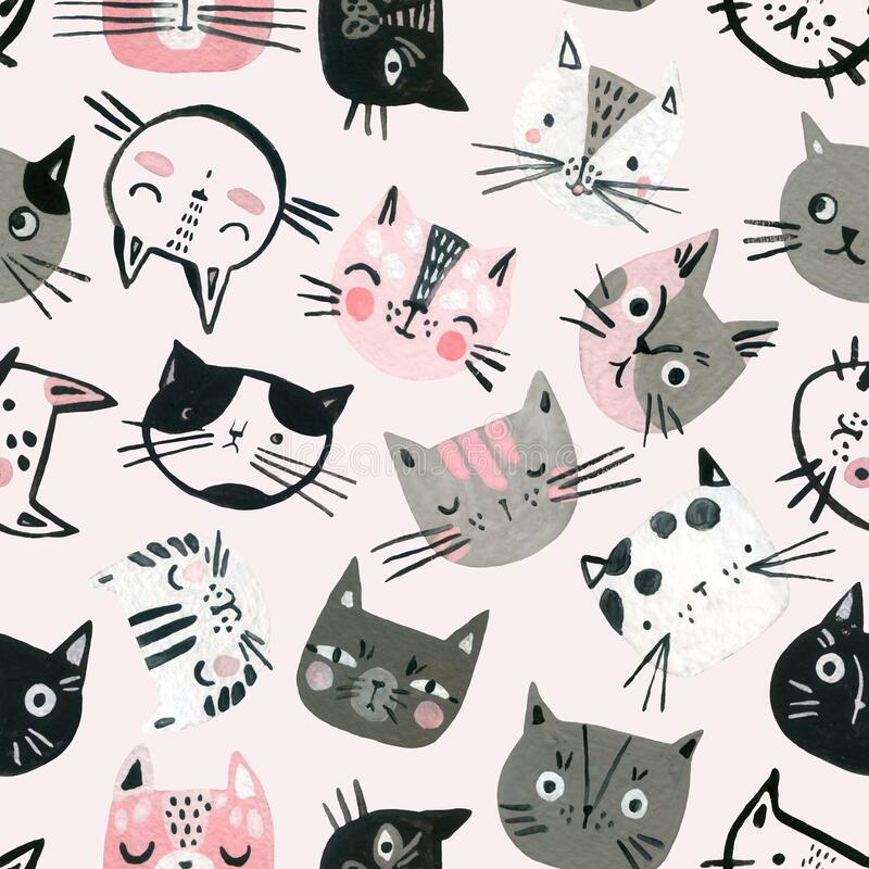 Free Cartoon Watercolor Cats Seamless Pattern In Pastel Colors. Cute Kitten Faces Background For Kids Design Royalty Free Stock Photos - 172373028