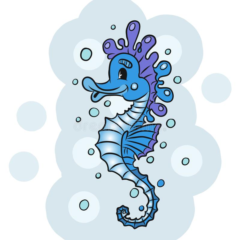 Cartoon watercolor Seahorse isolated on white background. Cartoon watercolor Seahorse isolated on white background vector illustration
