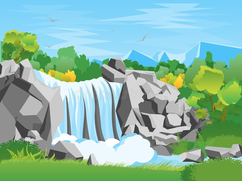 Cartoon Waterfall Landscape Background. Vector stock illustration