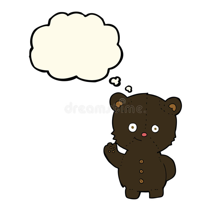 Cartoon waving black bear cub with thought bubble vector illustration