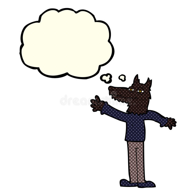 Cartoon waving wolf with thought bubble royalty free illustration