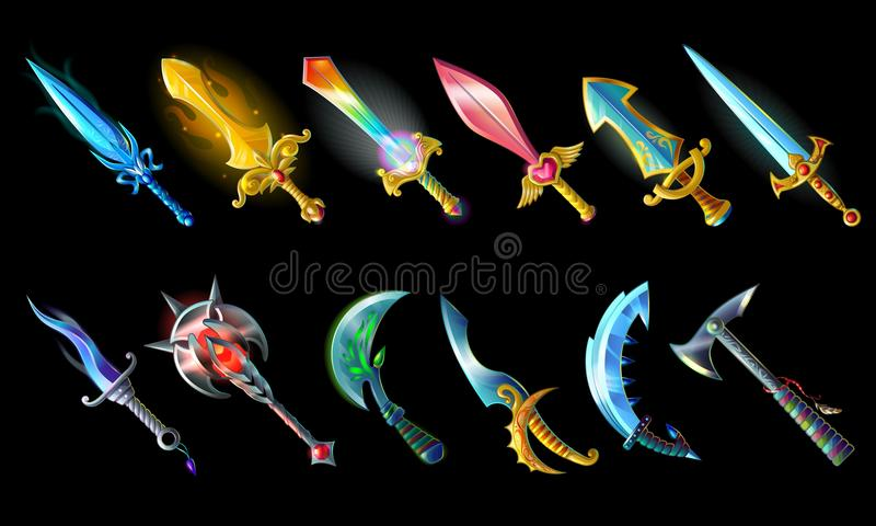 Cartoon Weapon Icons Set. With colorful sword knife mace sabre axe for game design isolated vector illustration royalty free illustration