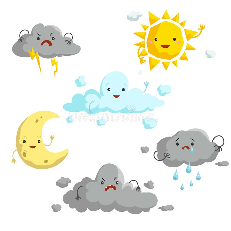 Cartoon weather mascots set. Comic anime style characters. Sun, clouds, rain, crescent, thunderstorm. Vector illustrations royalty free illustration