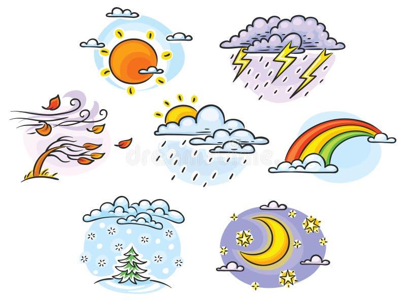 Cartoon weather set. Cartoon wSet of cartoon weather illustrations, hand drawn, colorful, no gradientseather set vector illustration