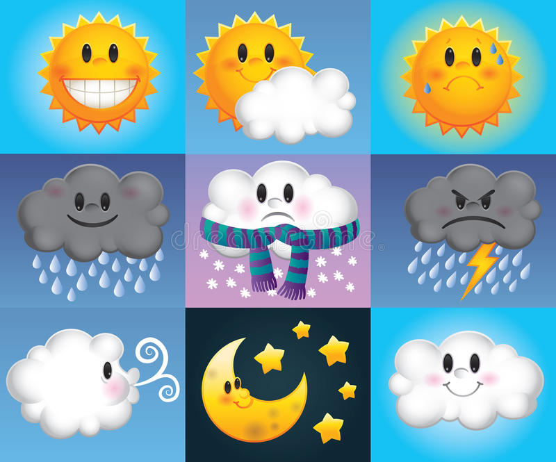 Cartoon Weather Symbols Stock Vector Illustration Of Cloudy 30405711