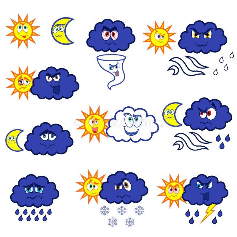 Cartoon weather symbols. Set of eleven cartoon color weather symbols, vector illustration isolated on the white background stock illustration