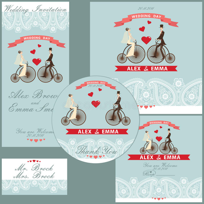 Cartoon wedding couple on retro bike.Design template set royalty free illustration