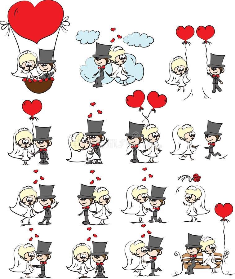 Cartoon wedding pictures vector vector illustration