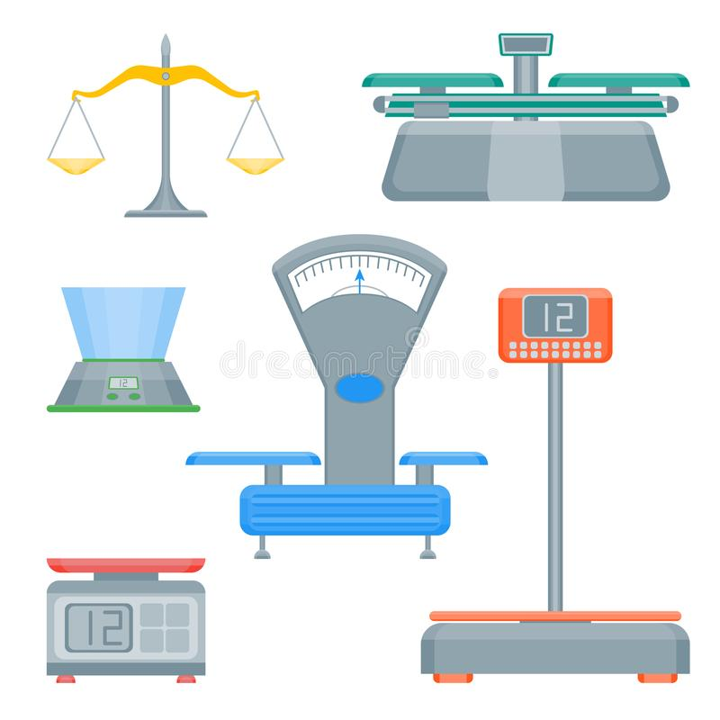 Cartoon Weight Scales Color Icons Set. Vector royalty free illustration
