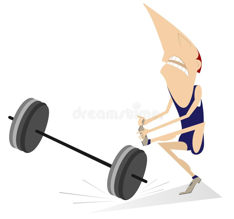 Cartoon man weightlifter drops a heavy weight to the leg illustration. Cartoon weightlifter contuses a leg with a heavy weight isolated on white stock illustration