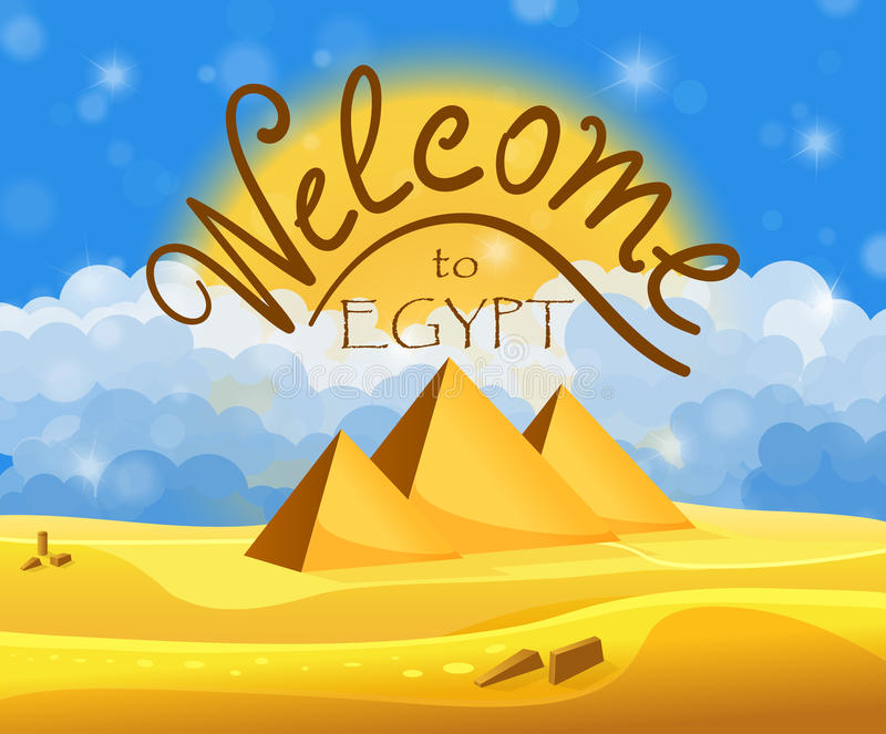 Cartoon Welcome to Egypt concept. Egyptian pyramids in the desert with blue cloudy sky. Vector illustration vector illustration