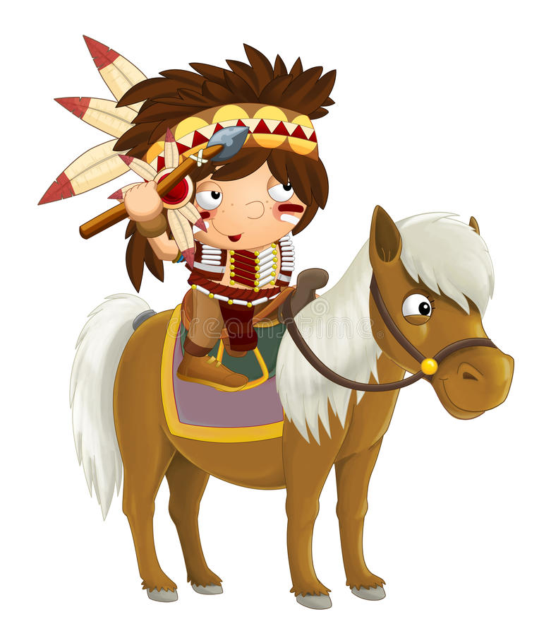 Cartoon western indian on horse - isolated. Beautiful and colorful illustration for the children - for different usage - for fairy tales royalty free illustration