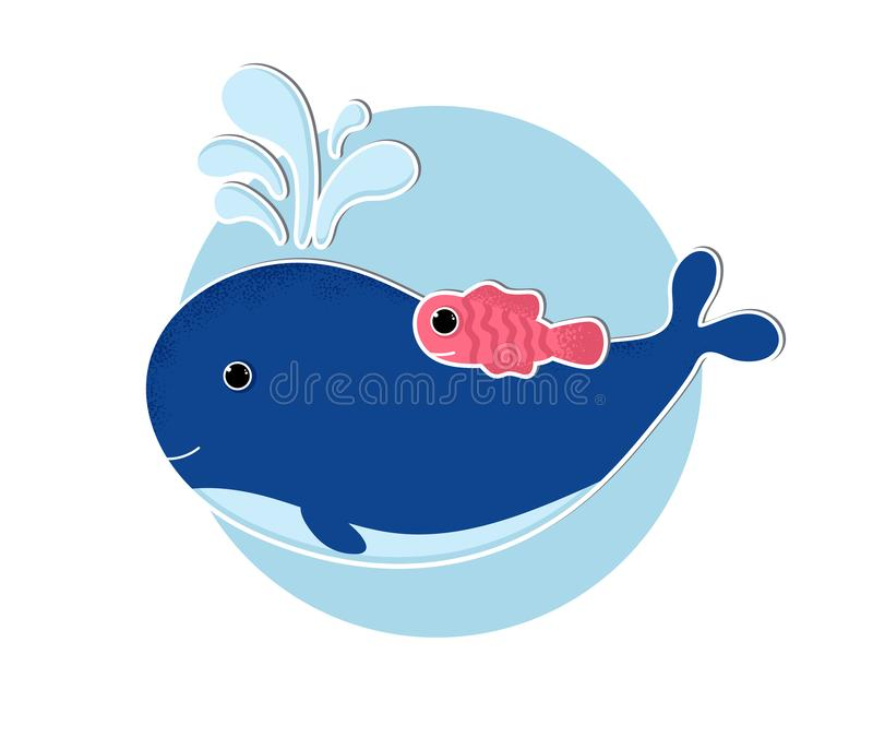 Cartoon whale icon in modern flat style vector illustration