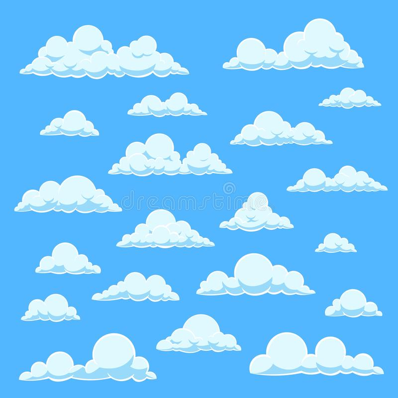 Cartoon white clouds. Blue sky with different cloud shapes. Cute summer cloudscape, cloudy landscape vector comic book royalty free illustration